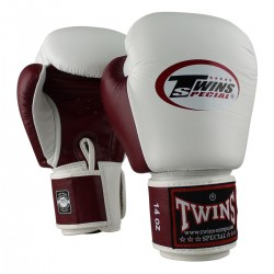"""Gants de Boxe Twins blanc et rouge bordeau """"Bgvl 3"""", Muay Thai, Boxe Thai, Kickboxing, K-1"""