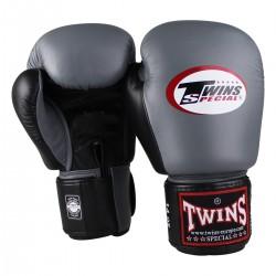 """Gants de Boxe Twins gris et noir """"Bgvl 3"""", Muay Thai, Boxe Thai, Kickboxing, K-1"""