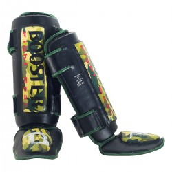 "Protège-tibias Booster camo "" Thai Striker "", Muay Thai, Boxe Thai, Kickboxing, K-1"