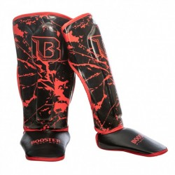 """Shinguards Booster red """" SG YOUTH MARBLE"""", Muay Thai, Thai Boxing, Kickboxing, K-1"""